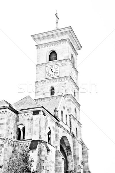 Stock fotó: Katolikus · katedrális · város · Romania · templom · fehér