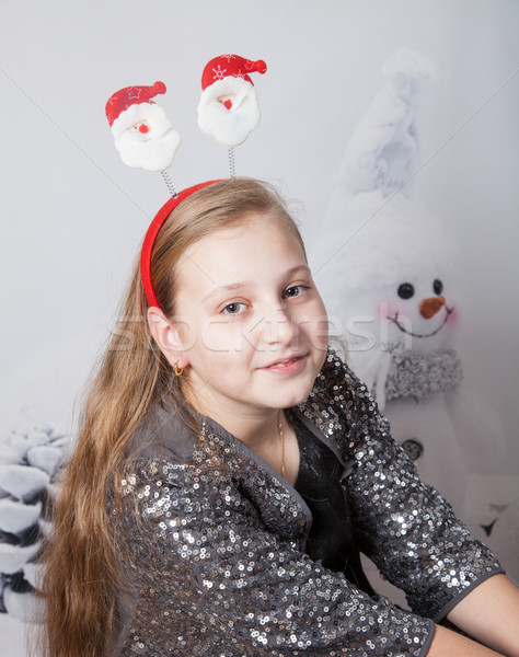 10 anni ragazza Natale ritratto party Foto d'archivio © igabriela
