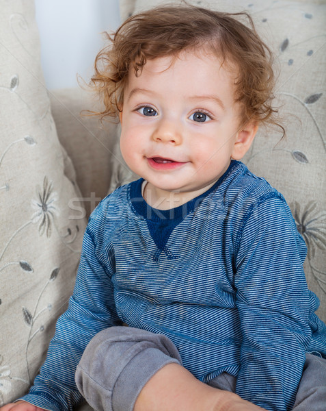 Stock photo: Baby boy with curly hair