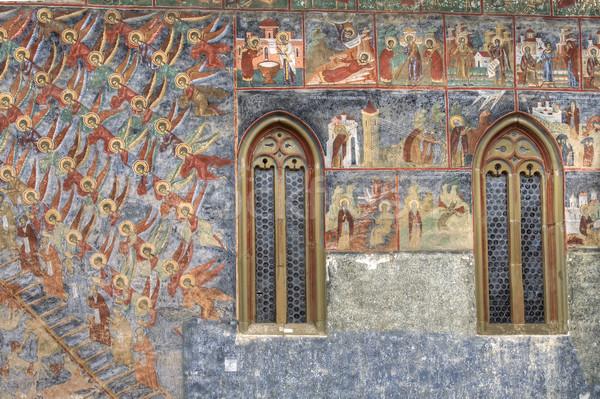Merdiven detay boyalı manastır Romanya dünya Stok fotoğraf © igabriela