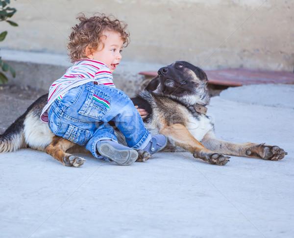 Baba fiú játszik kutya portré 1 éves Stock fotó © igabriela