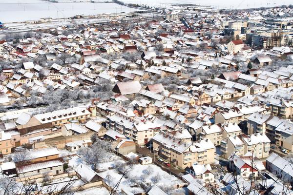 屋根 町 ルーマニア 市 雪 アーキテクチャ ストックフォト © igabriela