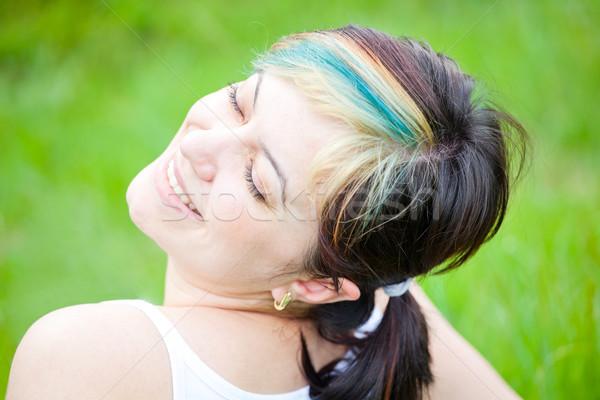 Stock fotó: Nő · élvezi · nap · szabadtér · portré · fiatal · nő