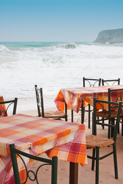 Tavern tables in Crete Stock photo © igabriela
