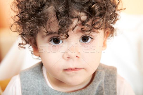 Kislány portré kétéves göndör haj baba arc Stock fotó © igabriela