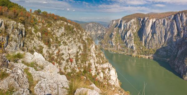 Danúbio outono floresta montanha azul panorama Foto stock © igabriela