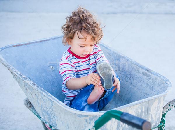 Baba fiú felfedez szabadtér portré 1 éves Stock fotó © igabriela