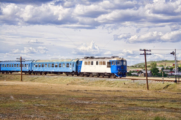 Diesel trem Romênia azul motor Foto stock © igabriela