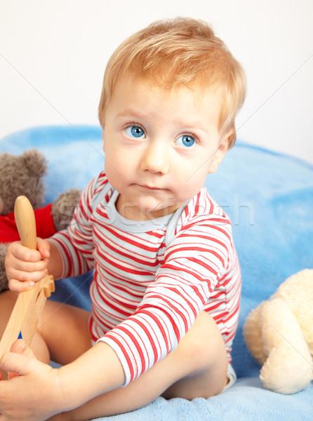 Baba fiú stúdió portré egyéves szomorú Stock fotó © igabriela