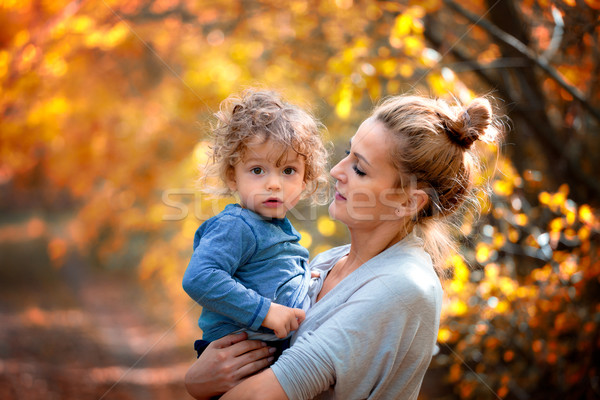 Stock photo: 1 year old boy with mother