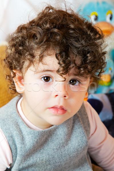 Kislány portré kétéves lány göndör haj stúdiófelvétel Stock fotó © igabriela