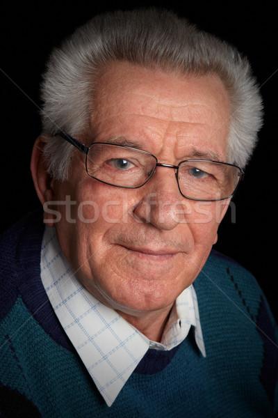 Zdjęcia stock: Starszy · portret · poważny · człowiek · czarny · kolor