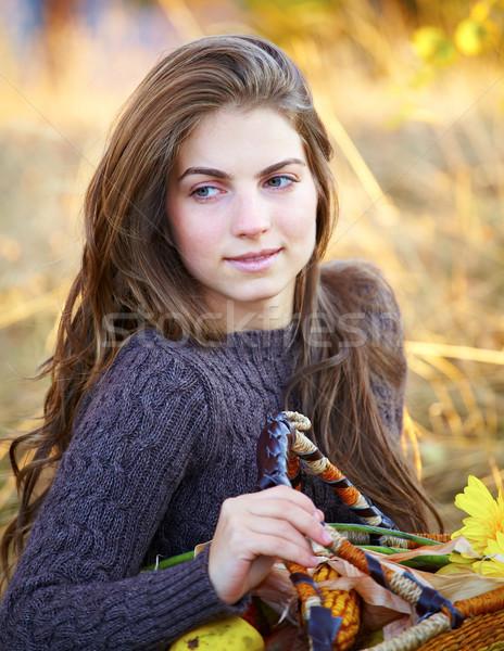 Foto stock: Hermosa · aire · libre · retrato · 20 · año