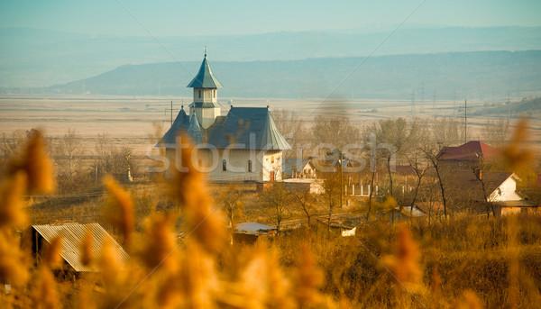 Templom tájkép kicsi falu Romania délután Stock fotó © igabriela