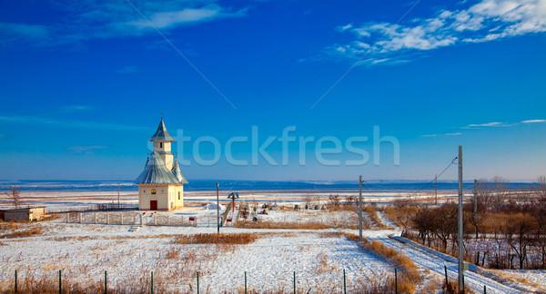 Inverno paisagem igreja ortodoxo aldeia arquitetura Foto stock © igabriela