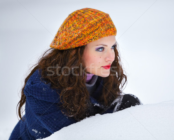 Young woman hiding in snow Stock photo © igabriela