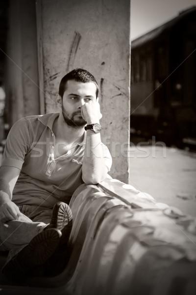 Klasszikus portré vonzó fiatalember retro fiatal Stock fotó © igabriela