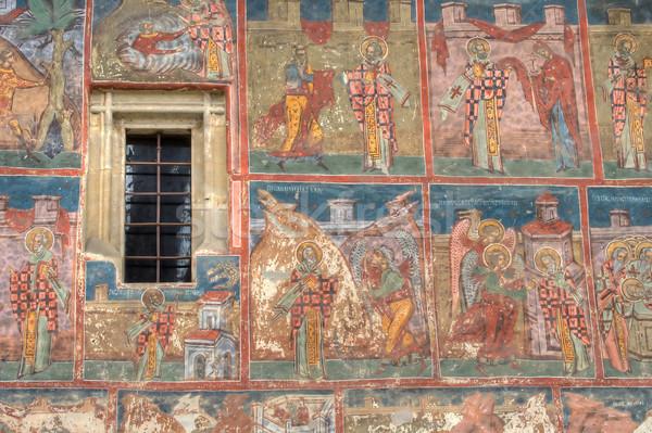 Umorismo monastero dettaglio affresco verniciato Romania Foto d'archivio © igabriela