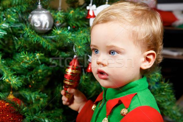 ребенка мальчика Рождества 1 год портрет рождественская елка Сток-фото © igabriela