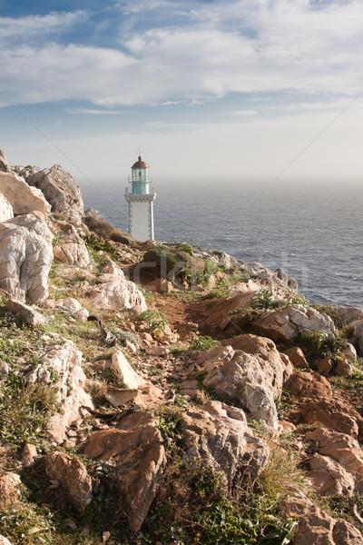 Vuurtoren landschap Griekenland water zee veiligheid Stockfoto © igabriela