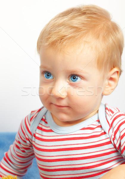 Szőke baba fiú stúdió portré boldog Stock fotó © igabriela