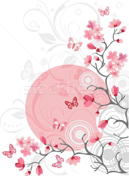 Kiraz çiçeği dizayn sakura bahar doğa yaz Stok fotoğraf © igor_shmel