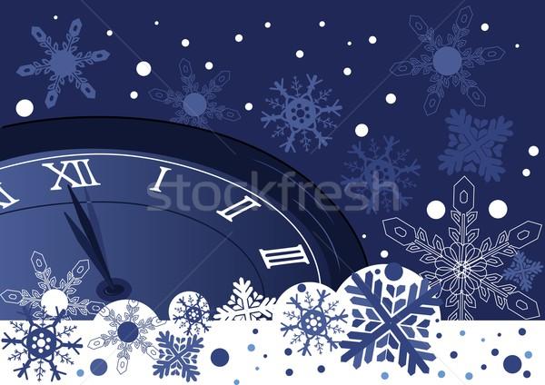 Natal relógio abstrato azul vetor neve Foto stock © igor_shmel