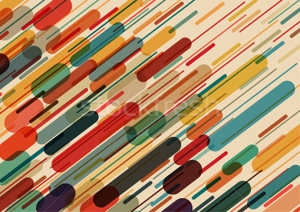 Flat style pattern with rounded objects and lines in color. Stock photo © igor_shmel