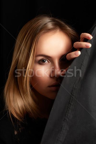 Genç kadın temizlemek cilt siyah portre genç kız Stok fotoğraf © igor_shmel