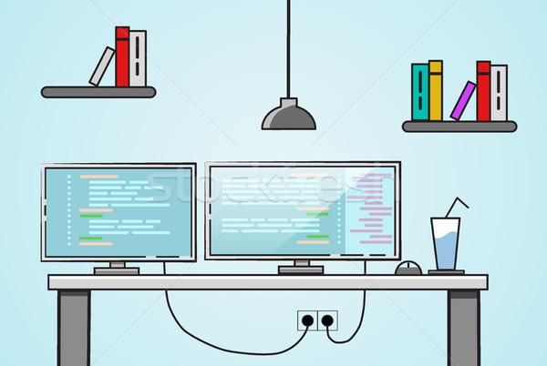 Ontwerp creatieve kantoor desktop werkruimte twee Stockfoto © igor_shmel
