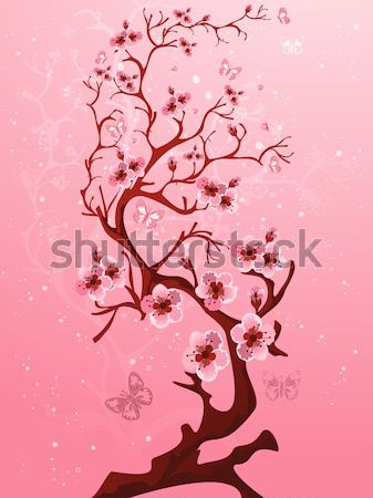 Cherry blossom tree with bird. Japanese Vector art Stock photo © igor_shmel