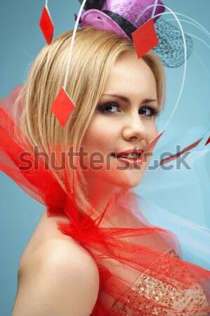 Mooie vrouw cosplay stijl heldere creatieve haren Stockfoto © igor_shmel
