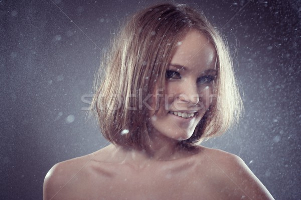 Feliz beautiful girl smiles gotas cara modelo Foto stock © igor_shmel