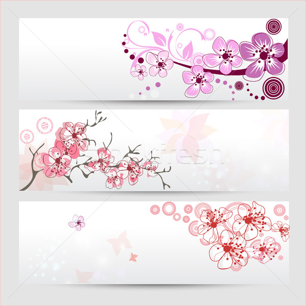 Cherry blossom banners set Stock photo © igor_shmel