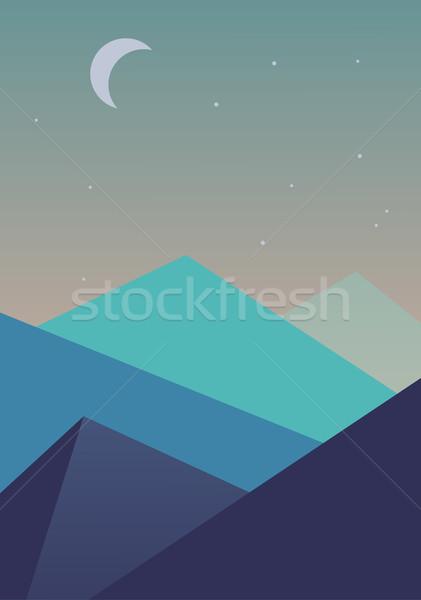 Simples paisagem montanhas lua estrelas abstrato Foto stock © igor_shmel