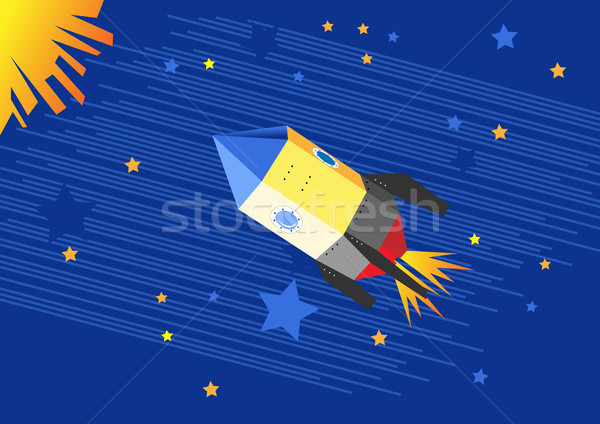 Illustration of a flying rocket in the starry sky Stock photo © igor_shmel