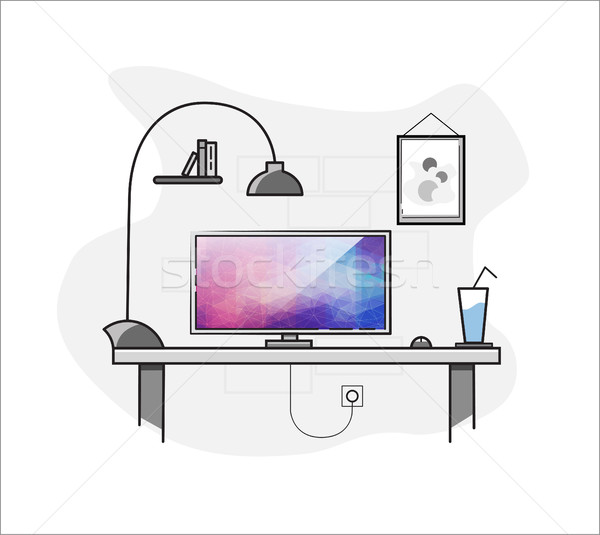 Creatieve home freelance desktop werkruimte vector Stockfoto © igor_shmel