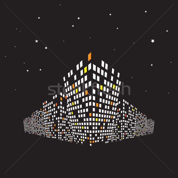Modern buildings at night. Cityscape background Stock photo © igor_shmel