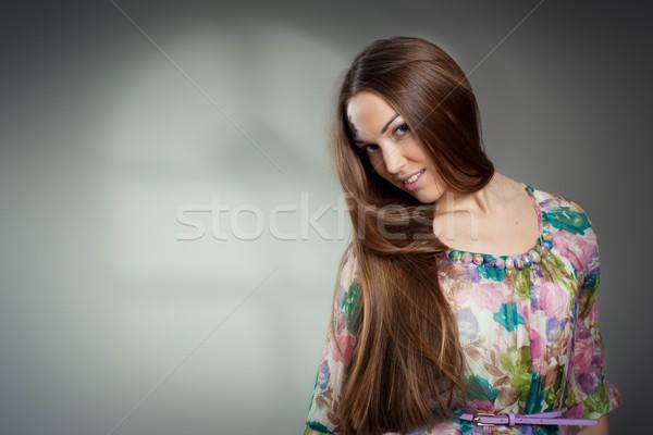 Portre güzel genç kadın uzun saçlı gri model Stok fotoğraf © igor_shmel