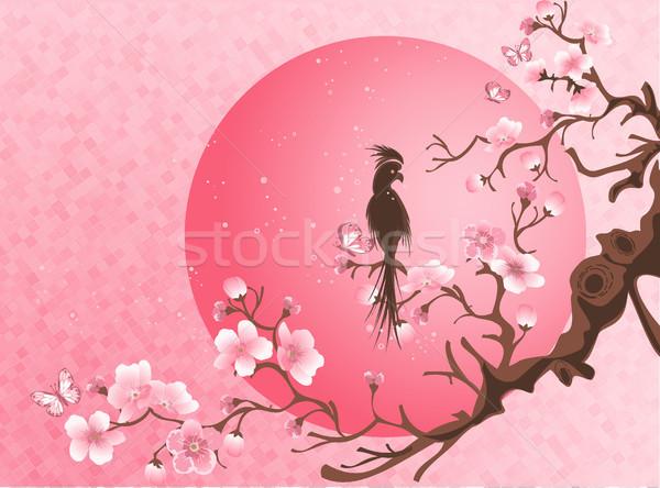 Cherry Blossom дерево птица Японский стиль весны Сток-фото © igor_shmel