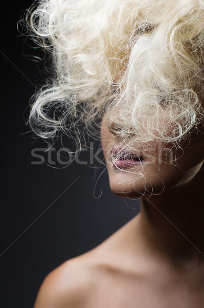 Beyaz uzun saç moda Stok fotoğraf © igor_shmel