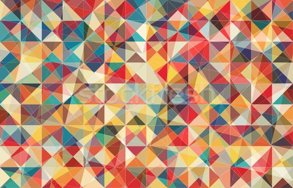 Stok fotoğraf: Retro · renk · geometrik · üçgen · model · vektör