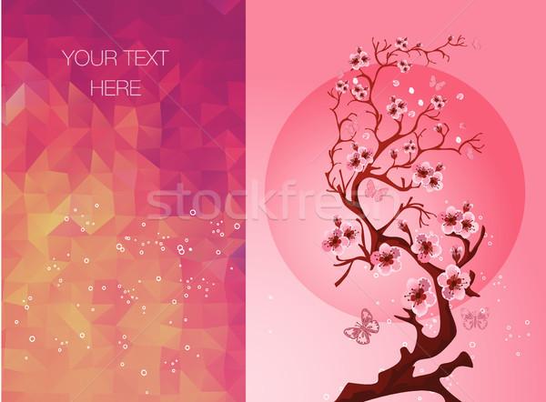Davetiye kartları çiçek sakura bahar dizayn Stok fotoğraf © igor_shmel