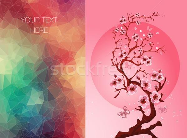 Convite bandeira flor sakura cartões primavera Foto stock © igor_shmel