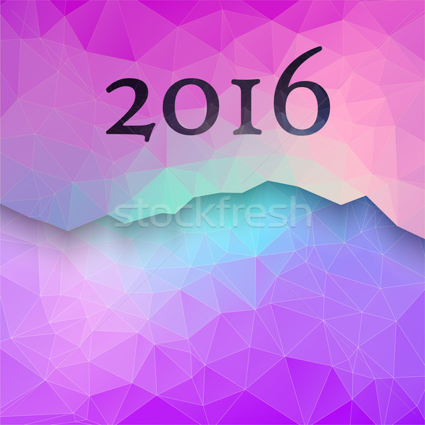 New Year 2016 colorful greeting card made in polygonal style Stock photo © igor_shmel