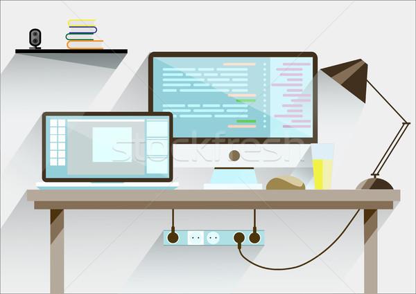 Creatieve kantoor desktop werkruimte omhoog vector Stockfoto © igor_shmel