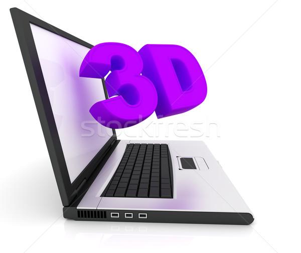 Wort 3D unter heraus Bildschirm Laptop Stock foto © ijalin