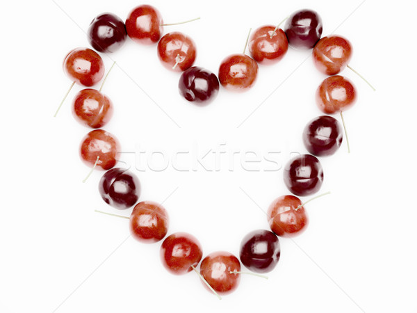 Heart from red cherry Stock photo © ijalin