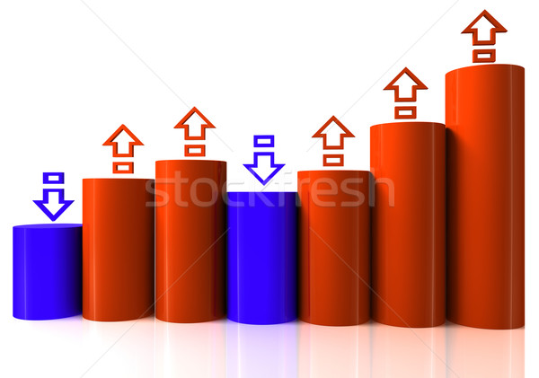 Stock photo: Barchart with arrows