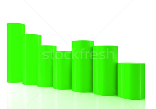 3D 棒グラフ グラフ 移動 ダウン 白 ストックフォト © ijalin
